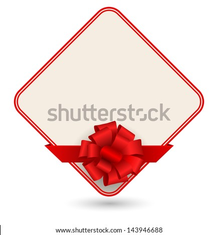 gift card with red bow - stock photo