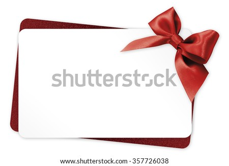 gift card with red ribbon bow Isolated on white background - stock photo