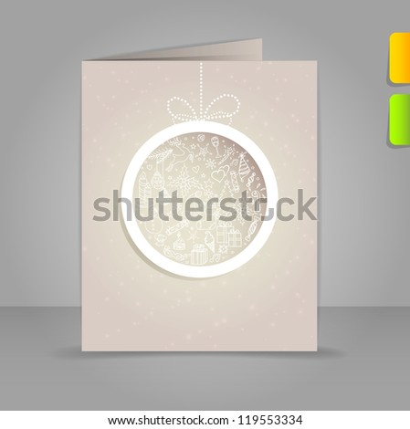 Gift card with Xmas doodle ball - stock photo
