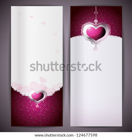 Gift cards and invitations with hearts. (Raster version of vector)