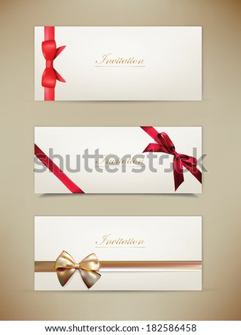 Gift cards and invitations with ribbons. background.  Isolated - stock photo