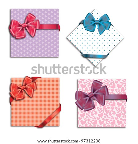 Gift cards with ribbon. Raster version background.