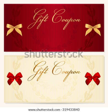 Gift certificate, Coupon, Voucher, Gift money bonus or Gift card template with scroll pattern (border, frame), ribbons. Background for reward design, invitation, ticket, banknote, check (cheque) - stock photo