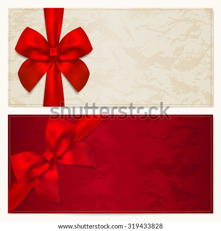 Gift certificate, Voucher, Coupon, Invitation or Gift card template with red bow (ribbon). Background design for banknote, check (cheque). Red (maroon) colors - stock photo
