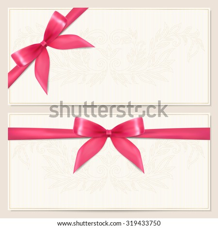 Gift certificate, Voucher, Coupon, Invitation or Gift card template with red bow (ribbon) and floral (scroll) pattern. Corrugated background design for banknote, check (cheque - stock photo