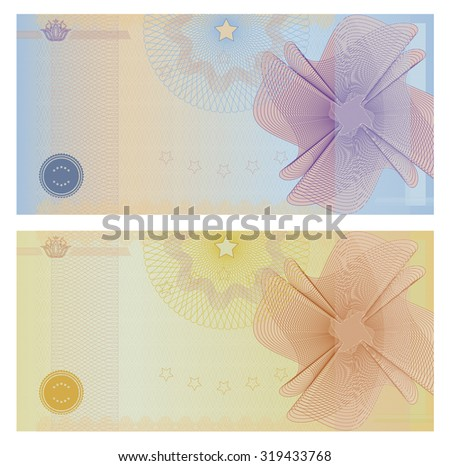 Gift certificate, Voucher, Coupon, ticket template. Guilloche pattern (watermark, spirograph). Blank background for banknote, money design, currency, bank note, check (cheque), ticket