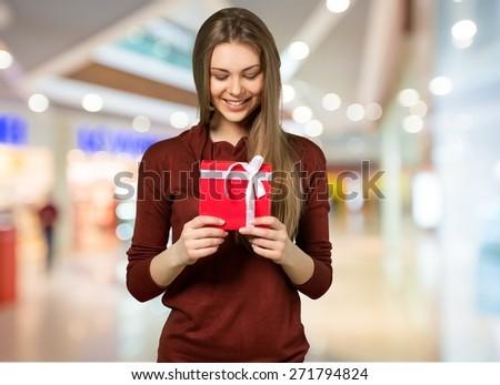 Gift, Christmas, Women. - stock photo