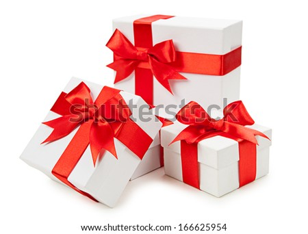 Gift concept. Present boxes with red bows isolated on white background