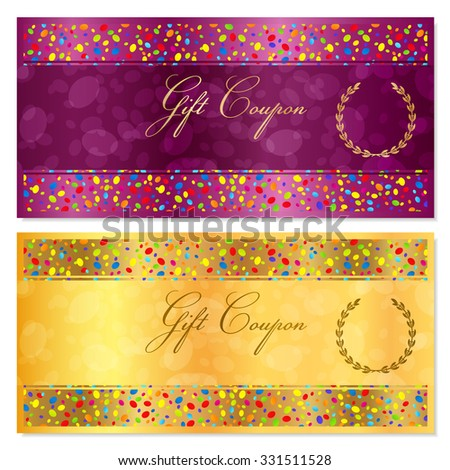 Gift Coupon, Gift certificate,  Voucher, Reward template with bright confetti (colorful particles, circles). Gold background design for gift money bonus, flyer, ticket - stock photo