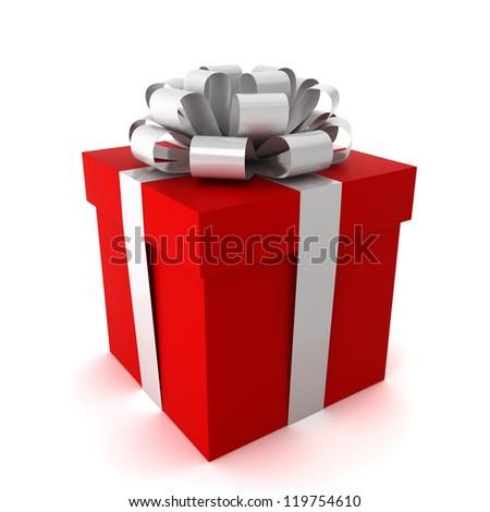 gift - 3d render on white - stock photo
