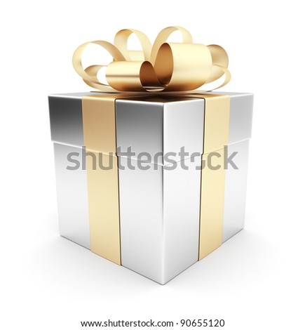 Gift 3D. White box, bow and ribbon. Isolated on white background - stock photo