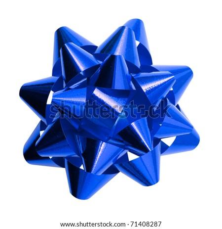 gift dark blue bow isolated on white background - stock photo