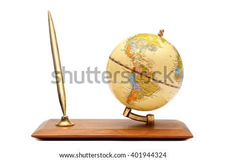 Gift desk set with a globe, isolated on a white background - stock photo