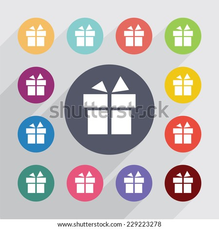 gift, flat icons set. Round colourful buttons - stock photo