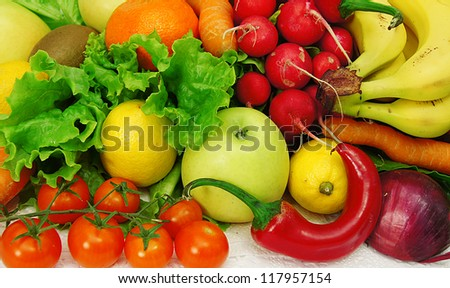 gift for health fruits and vegetables - stock photo