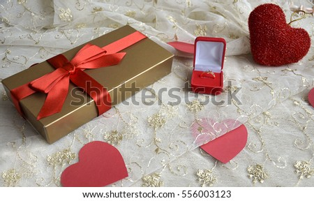 Gift for Valentine's Day and to offer ring. Background for celebration of Valentine's day.