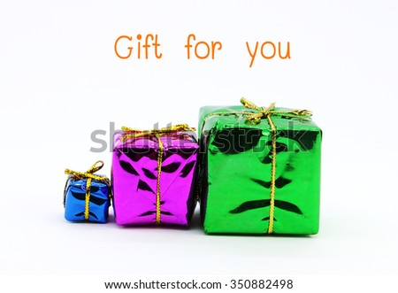 Gift for you, gift box family with ribbon bow isolated on white background - stock photo