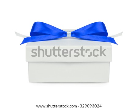 Gift, gift box with a blue bow isolated on white background - stock photo