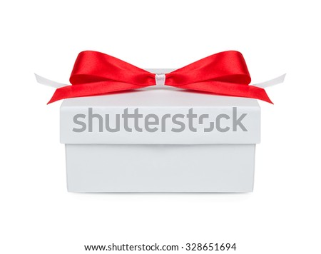 Gift, gift box with a red bow isolated on white background - stock photo