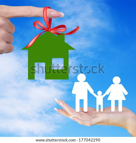 Gift Happy Green Home for Family.Happy Family Life - stock photo