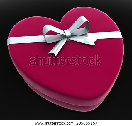 Gift Heart Representing Valentine Day And Present