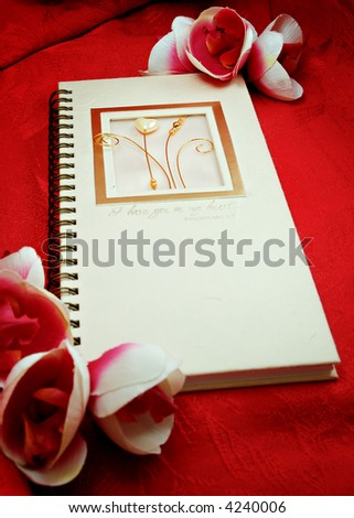 Gift idea, Diary and flowers