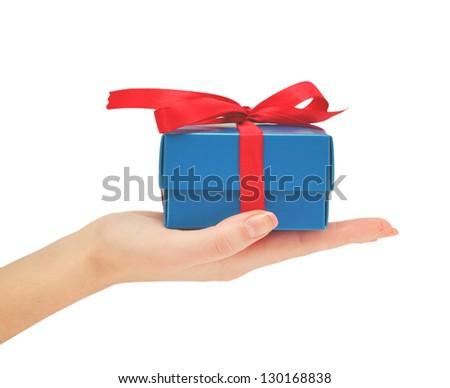 gift in hand - stock photo