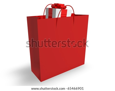 Gift in Shopping Bag - stock photo