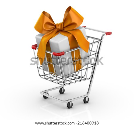 Gift in shopping cart 3D - stock photo