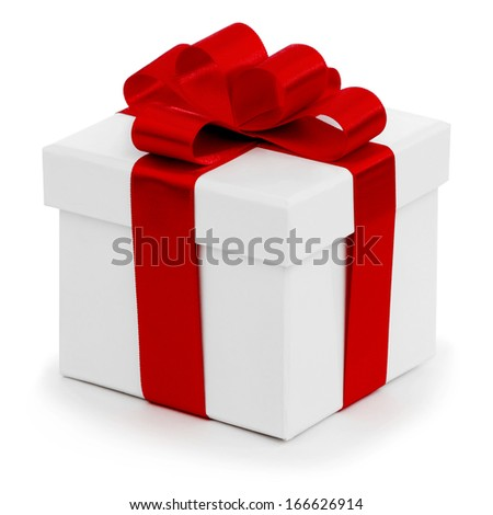 Gift in white box with red satin bow isolated on white
