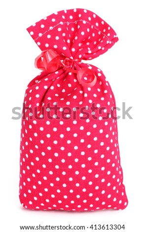 Gift lavender sack dotted cloth bag with red bow - stock photo