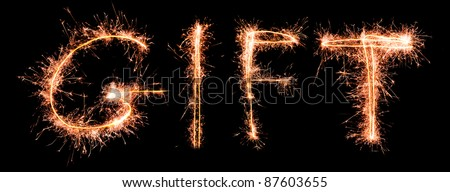 GIFT made of sparkles. Sparkles words collection. - stock photo