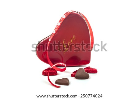 Gift of love and chocolate on white background for valentine - stock photo
