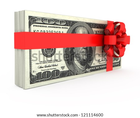 Gift of Money on a white background - stock photo
