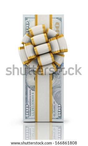 Gift of money. Stack of dollar bills with ribbon isolated on white background. High quality 3d render.  - stock photo