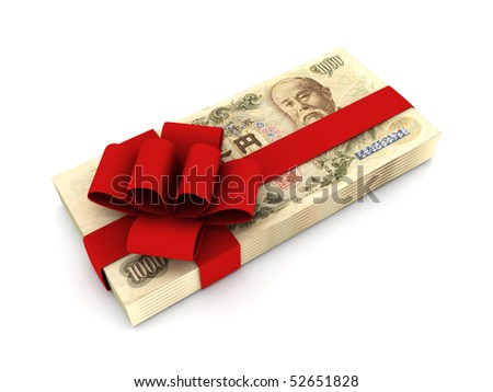 Gift of money. Stack of yen bills with red ribbon isolated on white background. High quality 3d render. - stock photo