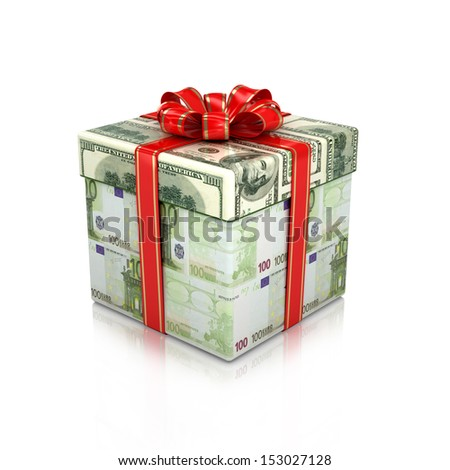 Gift of the euro and dollar bills. Isolated 3d render on a white background - stock photo