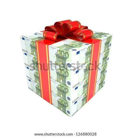 Gift of the euro. Isolated render on a white background - stock photo