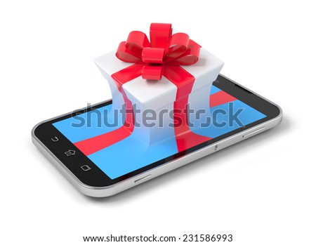 Gift on phone over white.