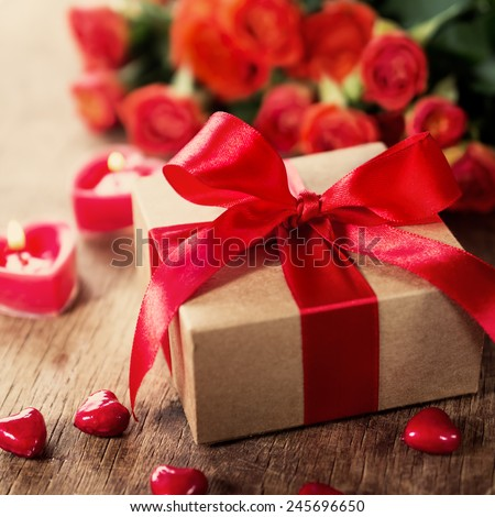 gift on Valentine's Day, wedding day - stock photo