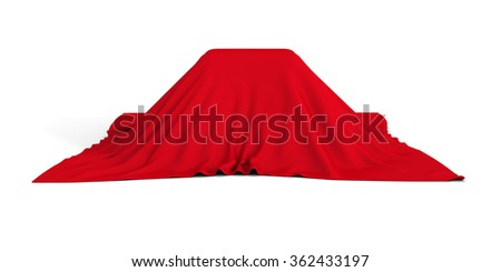 Gift Or Surprise Container Covered With Red Cloth. 3d Render Illustration