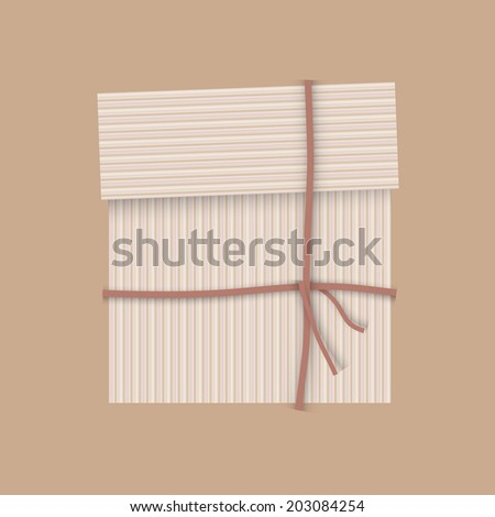 Gift package cardboard box with ribbon - stock photo
