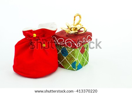 Gift packages in bag and box shaped, are prepared for special occasions such as the Christmas and New Year's. Unwrapping gift packages always be excited. - stock photo