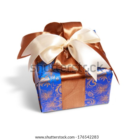 gift packing tied by ribbon, isolated on white with path