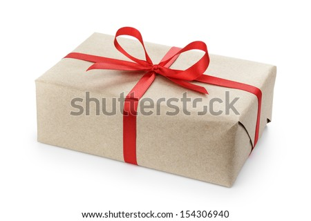 gift parcel box with ribbon bow, isolated on white - stock photo