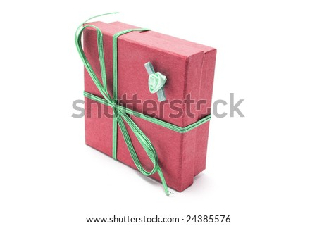 Gift Parcel on Isolated White Background