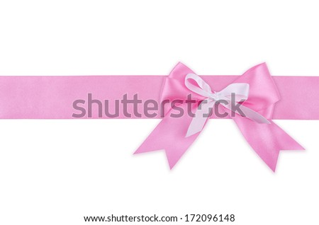 Gift pink ribbon and bow isolated on white background.