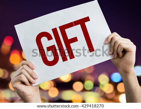Gift placard with night lights on background