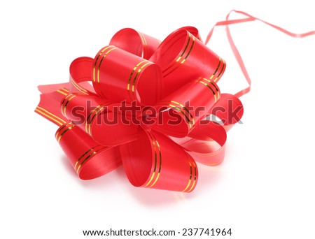 Gift red bow on a white background - stock photo