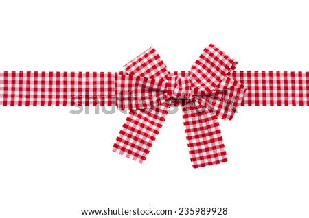 Gift  red checkered ribbon and bow isolated on white background. - stock photo